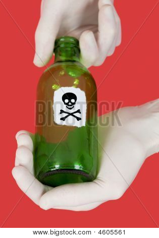 Green Bottle With Skull And Crossbones