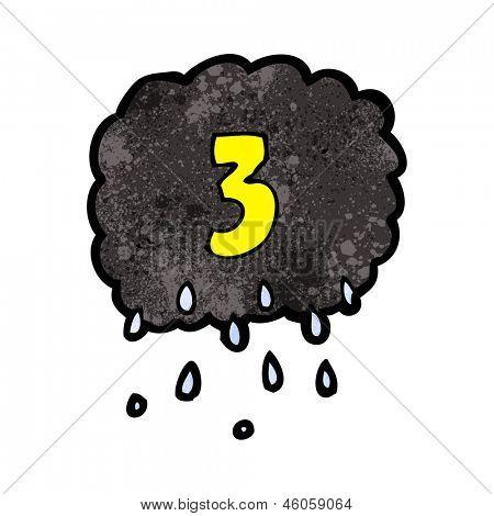 cartoon raincloud with number three