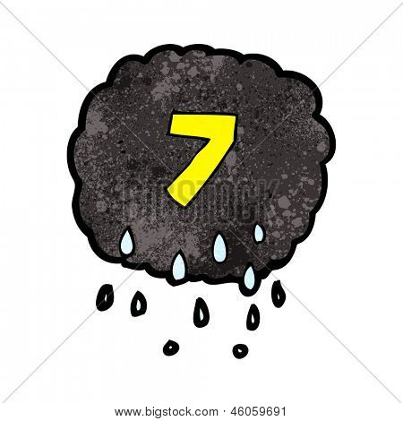 cartoon raincloud with number seven