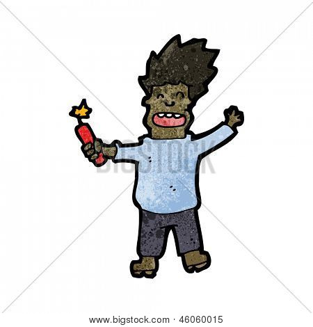 cartoon man with stick of dynamite