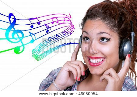 Young Girl Listening Music