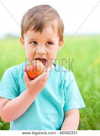 Little boy is eating red apple while sitting on green grass
