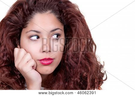 Cute Girl With Redhair Pensive