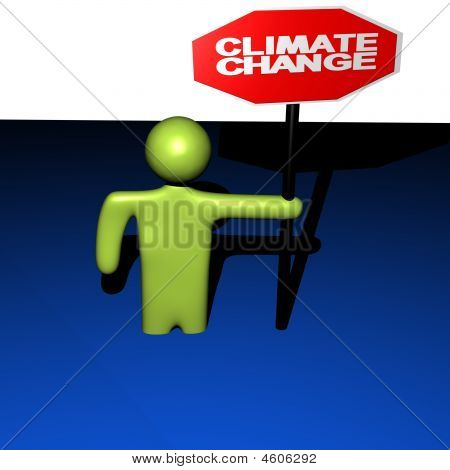 Person With Stop Climate Change Sign