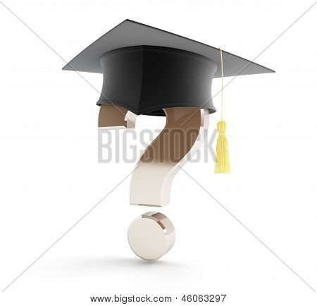 School Graduation Under A Question Mark
