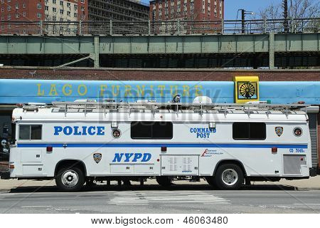 NYPD mobile command post  in Brooklyn, NY