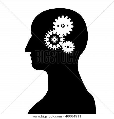 Head And Brain Gear Silhouette Vector