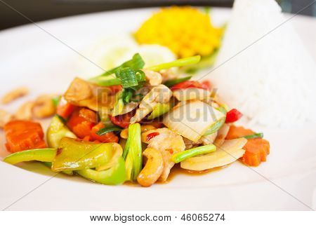 Thai Food, Chicken And Cashew Nuts