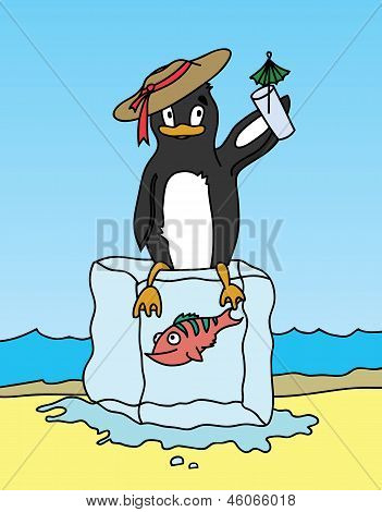 Happy Penguin Holding A Drink And Sitting On Block Of Ice