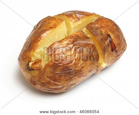 Plain baked potato on white background.