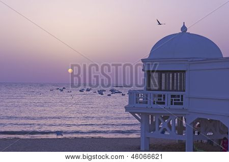 Sunset In Atlantic Beach. Andalusc�a??, Spain.