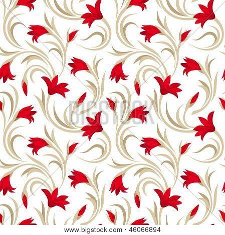 Nahtlose Muster mit roten Gladiolen-Blüten. Vektor-Illustration.