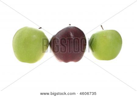 Two Green Apples And One Red
