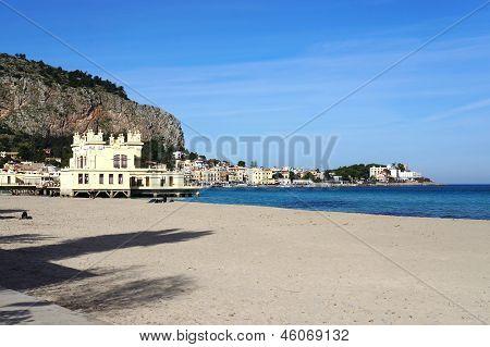 Mondello Beach Of Palermo City In Sicily