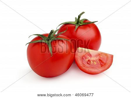 Two Ripe,red Tomates With Slice.