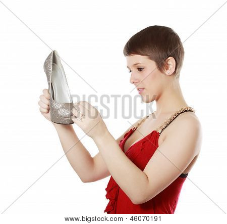 Girl Looking Looking At A Shoe