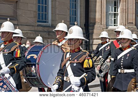 The Band Of Her Majesty's Royal Marines Marching Through Liverpool