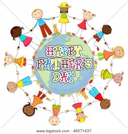 illustration of kids of different country around world wishing Happy Father's Day