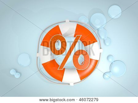 3d graphic of a safed percent icon rescued by a lifesafer