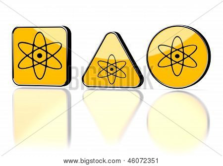 3d render of a caution science symbol on three warning signs