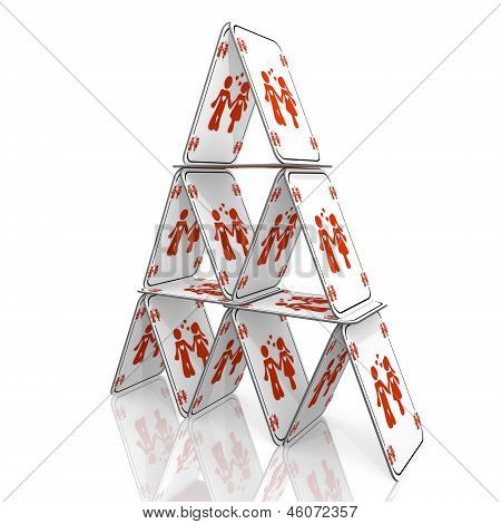 3d graphic of a fragile partnership icon  on a card house