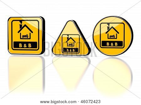 bed and breakfast symbol on three warning signs