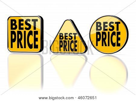 best price symbol on three warning signs