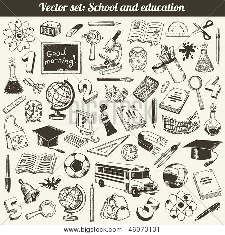 School Education Doodles Vector