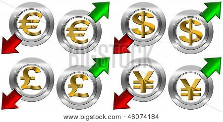 Currency With Positive And Negative Arrow