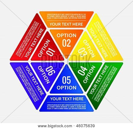 Hexagonal Graphic Table Divided Into Triangle Tabs