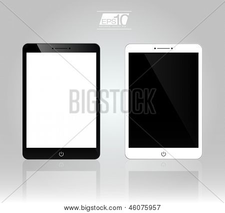 Set of 3D Realistic Tablet PC Computer Template (White and Black Variation) | EPS10 Vector Ipade Design Illustration