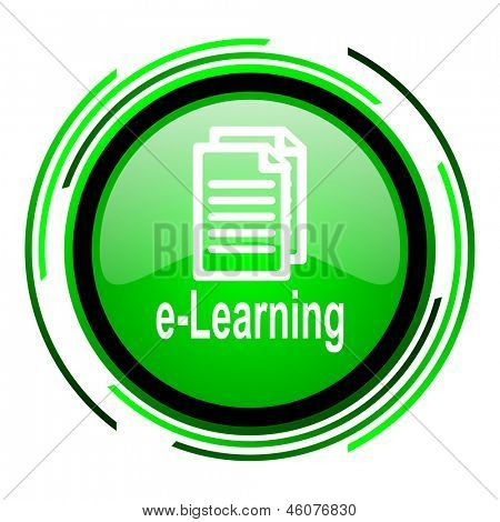 e-learning green circle glossy icon