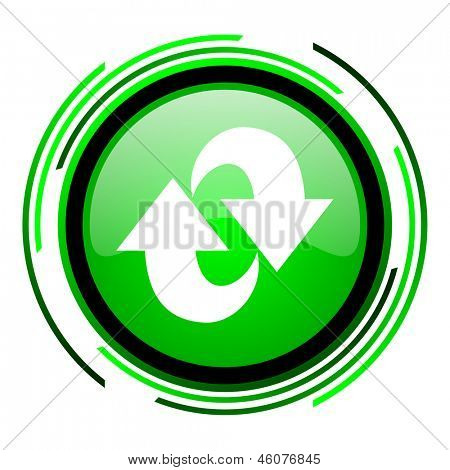 rotate green circle glossy icon
