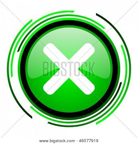 cancel green circle glossy icon