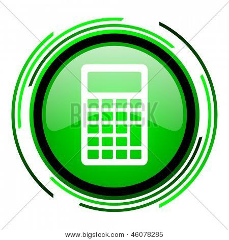 calculator green circle glossy icon
