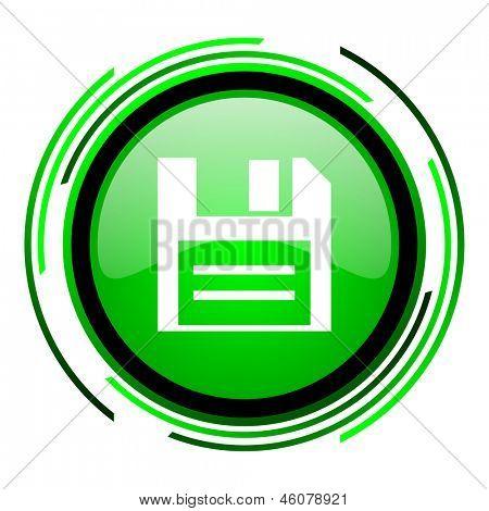 icono brillante círculo verde de disco