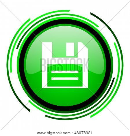 grüner Kreis glänzend Diskettensymbol