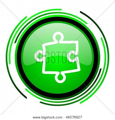 puzzle green circle glossy icon