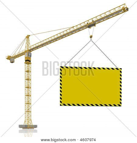 Industrial Crane With Blank Poster