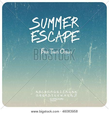 Summer travel set. Grunge background with hand-drawn alphabet. Vector