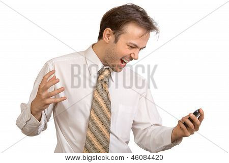 Businessman In White Shirt Shouts On Phone