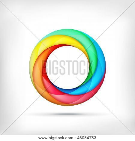 Colorful swirl icon. Abstract bright circle infinite loop icon. Spectrum circle sign. Rainbow icon
