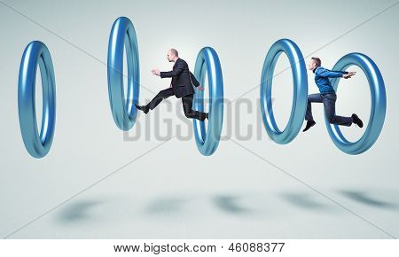 people jump in 3d metal rings