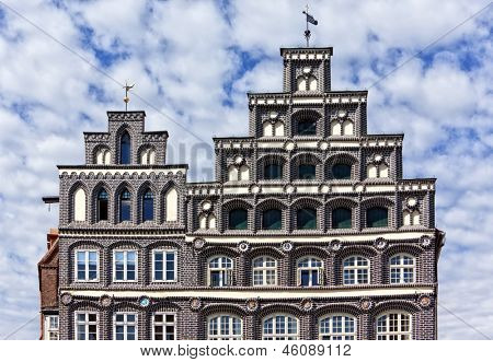 Ornate gables of the historic chamber of commerce at Luneburg, Lower Saxony