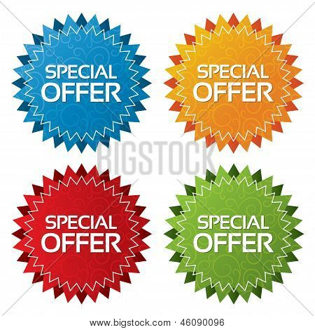 Colorful vector offer tags with texture set (icon)