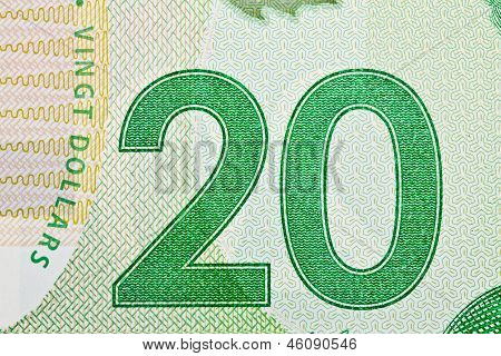 Ottawa, Canada, Avril 13, 2013,  Extreme Closeup Of New Polymer Twenty Dollar Bills