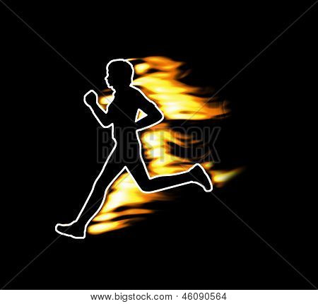 Fast running human symbolized by flames