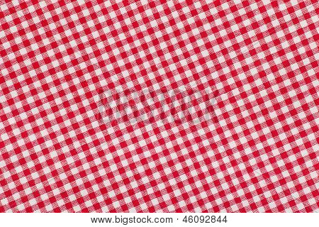 Ed And White Checkered Tablecloth Background, Texture