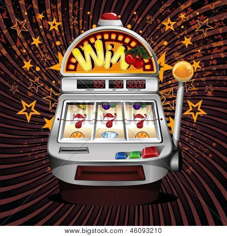 A vector slot fruit machine with cherry winning on sevens.