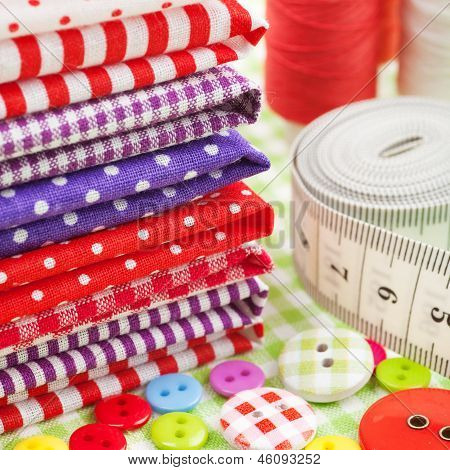 Buttons, Colorful Fabrics, Measuring Tape,